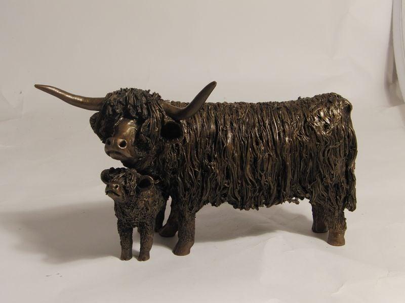 Highland Cow And Calf Standing Garden Sculpture 163 174 99