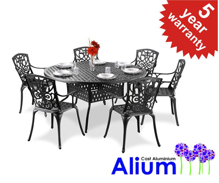 alium cleveland cast aluminium 6 seater round garden furniture set