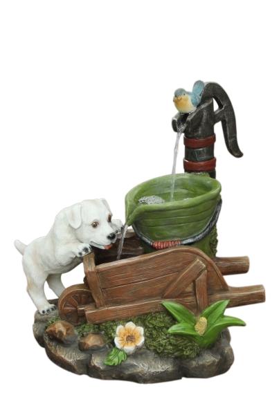 Solar Dog On Wheelbarrow Water Feature 163 169 99