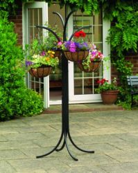 Hanging Basket & Upside down Planter Tree with Four Hanging Planters