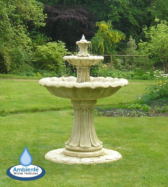 1.5m Classical Stone Fountain - Tall 2 Tier Version by Ambienté™ - Pond Version