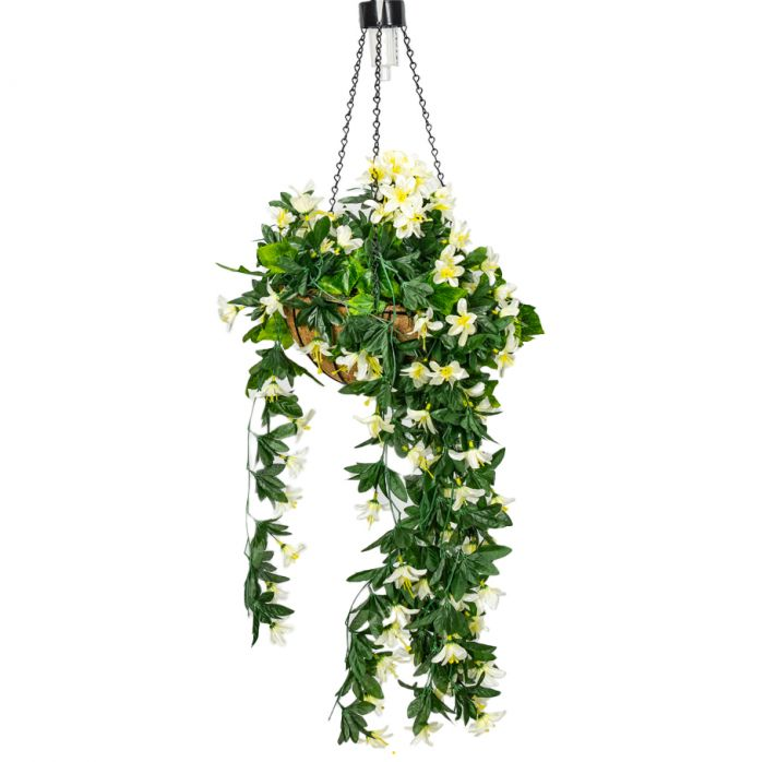 26cm White Duranta Artificial Hanging Basket with Solar Light by Primrose™