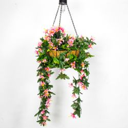 26cm Pink Duranta Artificial Hanging Basket with Solar Light by Primrose™