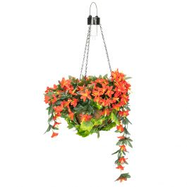 26cm Red Duranta Artificial Hanging Baskets with Solar Light by Primrose™