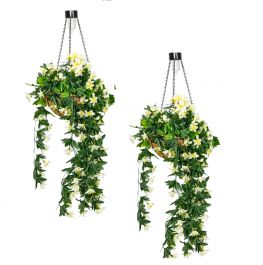 Pair of 26cm White Duranta Artificial Hanging Baskets with Solar Light by Primrose™