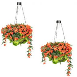 Pair of 26cm Red Duranta Artificial Hanging Baskets with Solar Light by Primrose™