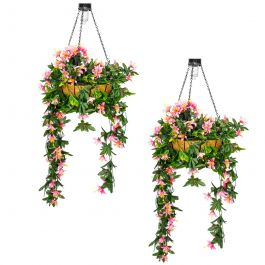 Pair of 26cm Pink Duranta Artificial Hanging Basket with Solar Light by Primrose™