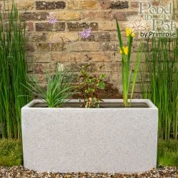 Ornamental Colour 80cm Pond in a Trough - White Poly-Terrazzo Trough Planter