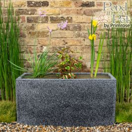 W80cm Ornamental 'Pond in a Pot' Trough Black Fibreglass Planter Outdoor Use