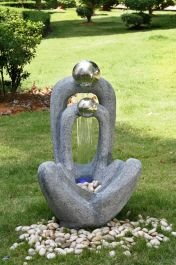 Meditating Couple 2 Stainless Steel Spheres Water Feature with Light