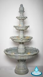 H204cm Regal Stone Effect 4-Tier Water Fountain with Lights by Ambienté