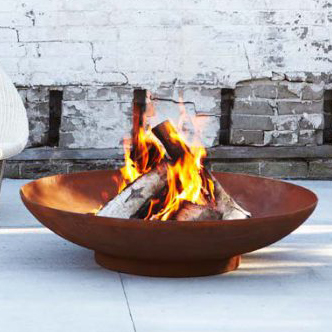 60cm Corten Steel Fire Pit and Water Bowl