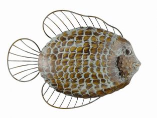 Outdoor Metal Flat Fish Garden Wall Art (H35cm)