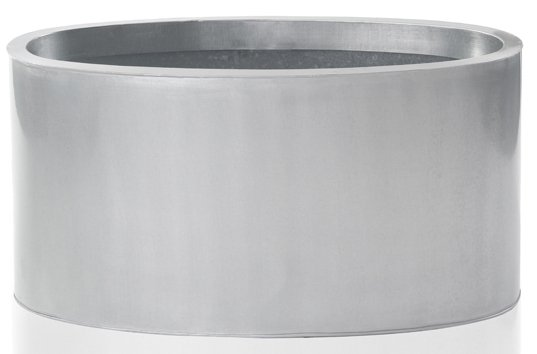W60cm Silver Low Oval Zinc Galvanised Planter - By Zink™