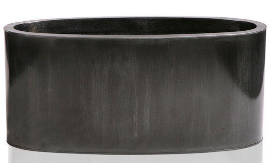 W40cm Platinum Low Oval Zinc Galvanised Planter - By Primrose®