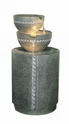 Two Bowl On Granite Column Lit Water Feature