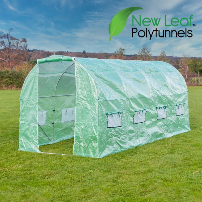 5m x 2m (16ft 5in x 6ft 7in) Premium Polytunnel Galvanised Frame by New Leaf™
