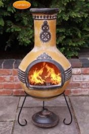 Azteca Clay Chimenea By Gardeco (Yellow) - Large 110cm (43.3 inches)