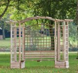 Wooden Pergola with Bench, Planters and Trellis