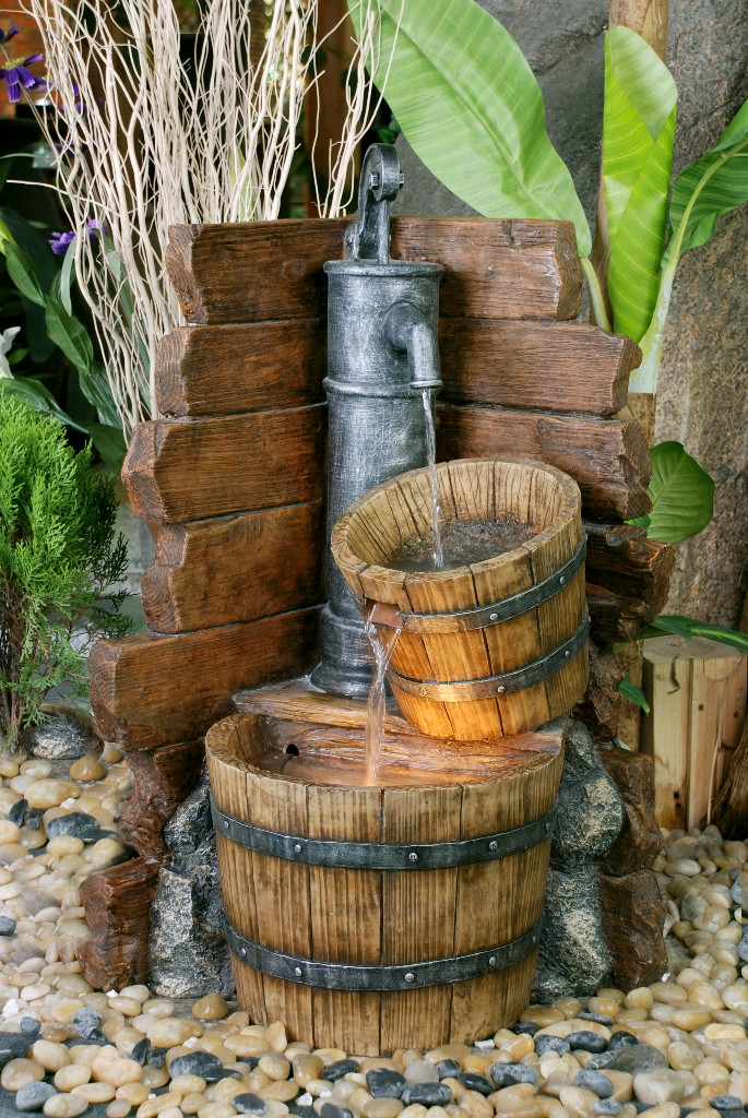 2 Wooden Barrels With Pump Water Feature With Lights 163 144 99