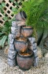 4 Pot Cascading Water Feature with LED Lights