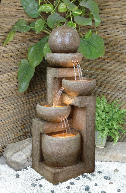 4 Bowls With Sphere Lit Water Feature