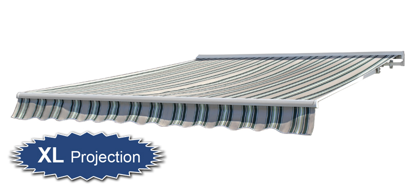 3.5m Half Cassette Manual Awning, Multi Stripe (4.0m Projection)