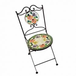 Glass Tile Mosaic Garden Chair - Rose Design