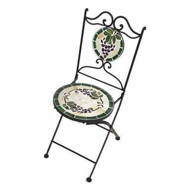 Glass Tile Mosaic Garden Chair - Grape Design