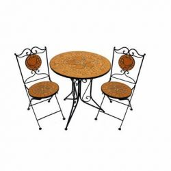 Terracotta Rose Mosaic Garden Bistro Set of 3