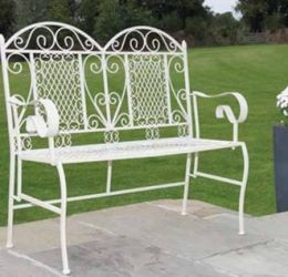White Traditional Folding Iron Garden Bench