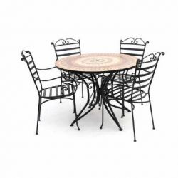Large 100cm Steel Terracotta Garden Table and 4 Chairs