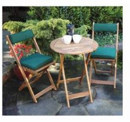 Acacia Wood Foldaway Garden Bistro Set with Round Table and Cushions