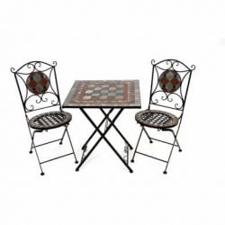 Square Mosaic Chess Garden Bistro Set of 3