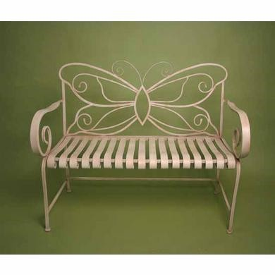 Cream Folding Iron Butterfly Garden Bench