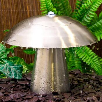 2ft Abbey Falls Large Stainless Steel Mushroom Water Feature with LED Lights (Down & Upward Lights)