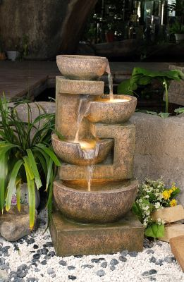 Granite Effect Tiered Bowls Water Feature with Lights H85cm