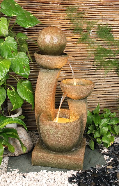 U Shape 3 Bowl Water Feature with Lights