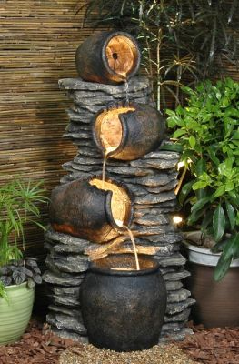 4 Pots On a Rock Oil Jar Water Feature with Lights