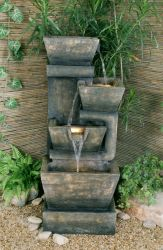 4 Tier Granite Box Water Feature With Lights