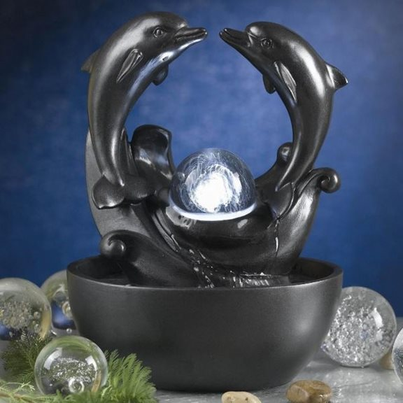 Twin Dolphin Crystal Sphere Water Feature with LED Lights