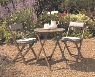 Raffles Acacia Bistro Set with Cushions Woodland Grey