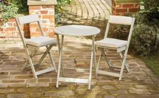 Raffles Acacia Bistro Set with Forest White Cushions