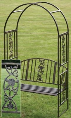 Ornamental 2.15m (7ft ½in) Copper Finish Garden Arch with Bench