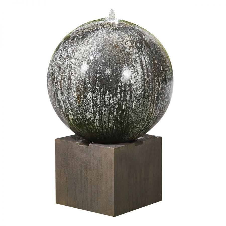 W66cm Marble Effect Moon Reinforced Concrete Sphere Water Feature