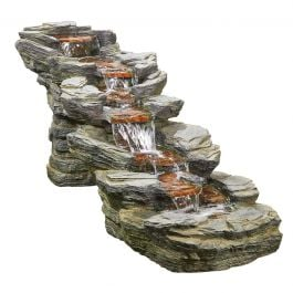 D4ft Rocky Creek Cascading Water Feature with Lights