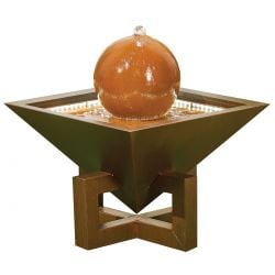 H57cm Setting Sun Metal Sphere Water Feature with Lights