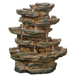 H71cm Red Rock Springs Multi Tier Cascading Water Feature with Lights