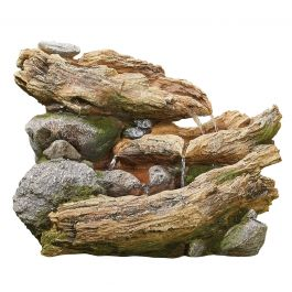 W54cm Bubbling Brook Log and Rock Cascade Water Feature with Lights