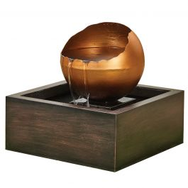 W55cm Gold Overflowing Sphere Water Feature with Lights